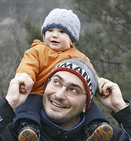 Son on dad's shoulders
